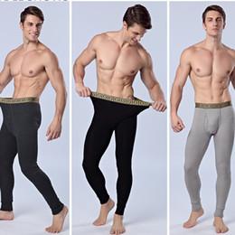 Wholesale Cashmere Long Underwear Men - 2017 Men's Cotton Pajama Long Johns Plus Cashmere Thicken Cotton Long Thermal Underwear Long Johns Bodysuit Keep Warm Leggings High Quality