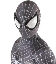 Wholesale Cosplay Spiderman Costume - adult marvel lycra black&white Amazing Spiderman Costume Cosplay mask lens Halloween costume spider man