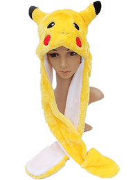 Wholesale Mitten Scarf - Pikachu Cartoon Plush Animal Faux Fur Full Hood Kids Hat Women Children Costume Beanie with Long Scarf Mittens Gloves Earmuffs 2 Expressions