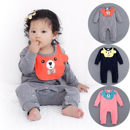 Wholesale One Piece Baby Bibs - 2016 Baby Bibs Rompers infant one-piece newborn Jumpsuits long sleeve solid colors kid clothes wear Spring Fall
