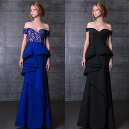 Wholesale Big Gown For Woman - Black Royal Blue Big Ruffles Prom Gowns For Women Off Shoulder Neckline Sleeveless Evening Dresses Floor Length Evening Party Wear