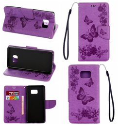 Wholesale Stylus For Galaxy S4 - Butterfly Flower Card Holder Luxury Wallet Leather For Galaxy S7 Edge S6 Edge S5 S4  LG G Stylo 2,Stylus 2,LS775 Flip Cover Holder Strap