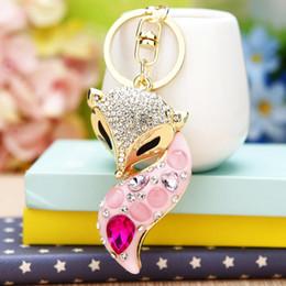 Wholesale Rhinestone Crown Keychain - Rhinestone Fox Crown Keychain eyrings For Grils High Quality Metal Crystal Fashion Key Chains