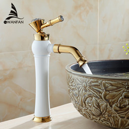 Wholesale Painting Bathroom Faucets - Newly Grilled White Paint Golden Polished Faucets Waterfall Bathroom Basin Sink Mixer Tap Faucet Hot and Cold Water AL-7309DK