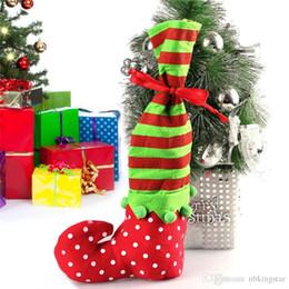 2019 calze lunghe di caramelle 35 * 20 Natale Raso Bottiglia di Vino Decorazioni Bag Natale Elf Candy Calzini Lunghi Regali di Natale Borsa Socking 20 Pz / lotto Spedizione Gratuita sconti calze lunghe di caramelle