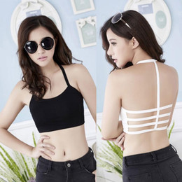 Wholesale Midriff Tops - Wholesale-Fashion New Sexy Women Hollow Back Midriff Shirt Tank Top Padded Bra Wrap Tube Tops Chest Sport Bra Crop Tops
