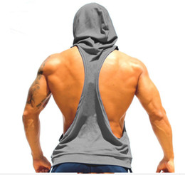 Wholesale body building tanks - DHL Free Hooded Cotton Stringer Men Body building Fitness Gym Top Tank Solid Singlet Y Back Sport Shirt With Hat