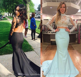 Wholesale Cheap Elegant Dresses Sleeves - Two Pieces Mermaid Prom Dresses Cheap Long Sleeves Sexy Arabic Backless Lace Applique High Neck Evening Pageant Gowns Plus Size Elegant