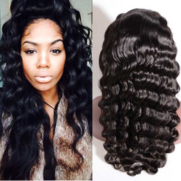 Wholesale Curl Human Hair Brown - Glueless human hair Full Lace Wig Mongolian Indian Peruvian Malaysian Brazilian Front Lace Wigs bleached knots Deep Curl wigs with baby hair