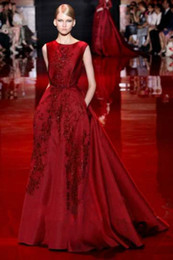 Wholesale New Chiffon China - Elie Saab Fashion new word shoulder Evening Dresses China toast wine red bride Evening dress car carpet Online