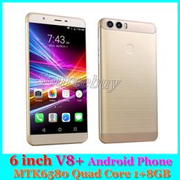 Wholesale V8 Video Camera - 6 inch New Smart phone V8+ Quad Core MTK6580 1GB RAM 8GB ROM 3G WCDMA Unlocked Dual SIM Mobile phones Android 6.0