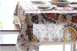 Wholesale Wholesale Printed Table Linens - European Cotton & Linen Mediterranean Style Square Tablecloths Sunflower covers Print Table Cloth For Wedding Decorations Picnic Outdoor