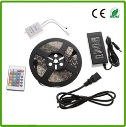 Wholesale Super Bright Rgb Led Strips - CE RoHs super bright IP65 72W Flexible 5050 Waterproof 300leds RGB DC12V led strip light 24key remote controller + power supply 5 meters pe