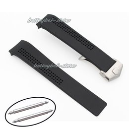 Wholesale Mens Clasp Belt - 20mm Watch Bands Strap Mens Black Sport Waterproof Silicone Rubber Bracelet Belt Steel Buckle Deployment Clasp Gift For TAG
