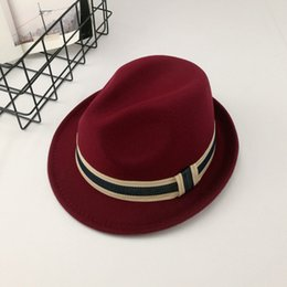 Wholesale Discount Church Hats - Wholesale Fashion Hat Wool felt Fedoras Hat women Fedoras Lady Girls Wool Hat cap Free shipping discount