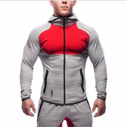 Wholesale Shirts Lapel Long Sleeve Patchwork - Mens Bodybuilding Gym Hoodies Brand-clothing Workout Shirts Hooded Suits Tracksuit Men Chandal Hombre Gorilla wear Animal