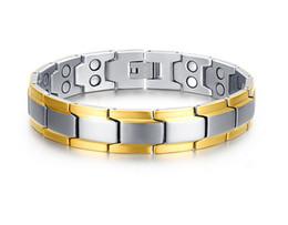 Pulseira de homem on-line-Cura Homens Pulseira Magnética Aço Inoxidável 316L Elementos de Cuidados de Saúde de Ouro Pulseiras Pulseiras Cadeia de Mão Pulseira Homens B842S