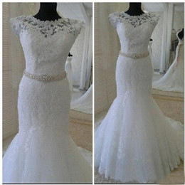 Wholesale Simple Elegant Formal Gowns - Cap Sleeves Sequins Beaded Sash Formal Bridal Gowns Court Train Crew Neck Backless Elegant Real Images Lace Mermaid Wedding Dresses