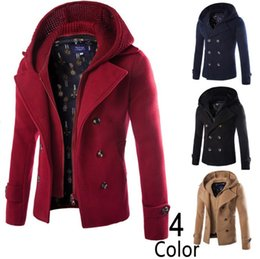 Wholesale Hooded Trench Wool Coat Men - Wool Blends Trench Coat Fake Two Piece Men Long Sleeve Double Breasted Turn Down Collar Detachable Hooded Slim Man Trench Coat Free Ship