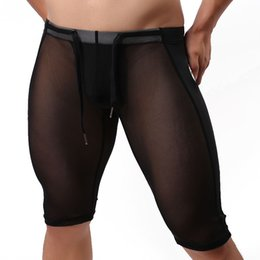 Wholesale Transparent Leggings Tights - Wholesale-2016 man comfortable brand WJ homedress tight elastic surf beachwear transparent long Leggings Pants silk gauze pants fitness