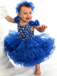 Wholesale Girls White Mini Skirt - Royal Blue Cute Infant Tollder Girls Pageant Dresses 2017 Crystals Beaded Organza Tiered Skirt Mini Cheap Kids Birthday Party Gowns