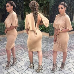 Wholesale Red Strapless Bodycon Dress - Sexy Club Dress 2017 Black 2 Piece Set Women Cloak Two Piece Coffee Backless Elegant Bandage Bodycon Dresses Robe Party Vestidos