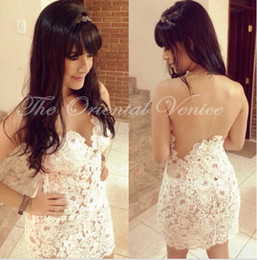 Wholesale Open Back Yellow Cocktail Dress - Sheer White Lace Short Cocktail Dresses 2017 Robe de Cocktail Sheath Party Gowns Appliques Sexy Illusion Open Back Cheap Homecoming Dress