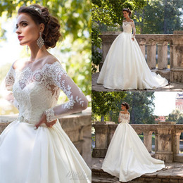 Wholesale Nova Dresses - Vintage Milla Nova Wedding Dresses Off Shoulder Long Sleeves Appliques Bridal Gowns Floor Length Wedding Gown