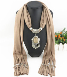 Wholesale Scarf Charm Necklaces - Newest Cheap Fashion Lady Scarf Direct Factory Geometrical Pendant Scarf Necklace Winter Scarf Women Neckerchief From China
