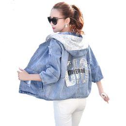 Wholesale jean hooded jacket women - Wholesale- Spring Autumn Oversized Jeans Jacket Women 2017 Loose Sequin Hooded Jean Jacket Coat Female Ripped Boyfriend Denim Jackets 205