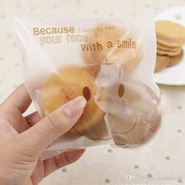 Wholesale Plastic Cookie Bags Wholesale - 50Pcs big smiley cello cookie candy treat bags self adhesive party birthday E00057 SMAD