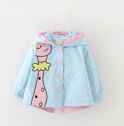 Wholesale Cute Jackets Free Shipping - Baby Girls Spring Autumn Cartoon Jacket New Cute Children Girl Polka Dot Hooded Coat Kids Cotton Outerwear Top free shipping