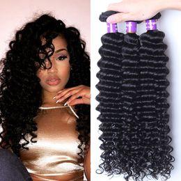 Wholesale Queen Hair Products Brazilian - Hot 7A Brazilian Virgin Hair 3 Bundles Deep Wave Queen Hair Products Human Hair Weave Mink Brazilian Deep Curly Virgin Hair