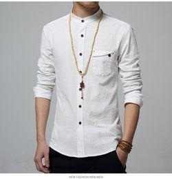 Wholesale Mens Mandarin Shirts - 5XL Cotton Linen Men Shirt New 2016 Stand Collar Casual Male Shirt Slim Fit Mens Shirts Long-Sleeve Camisa Hombre