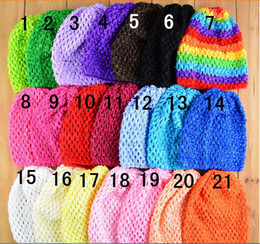 "Wholesale Infant Handmade - 50pcs Colorful Baby 6"" Crochet Beanie Hats Infant Handmade Knit Waffle hat String Wheat Caps Newborn cap 21colors MZ9101"