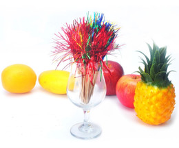 Wholesale Bamboo Cocktail - Colorful Peacock Tail Bamboo Cocktail Sticks Martini Picks Cake Snacks Salad Fruit Picks Wedding Party Favor 200pcs lot DEC053