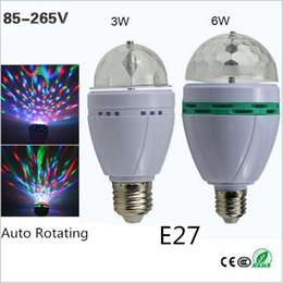 Wholesale Led Bulb Rgb Disco - Full Color E27 3W 6W RGB LED Crystal Stage Light Auto Rotating Lamp AC 85 - 265V Laser Disco DJ Party Holiday Dance bulb
