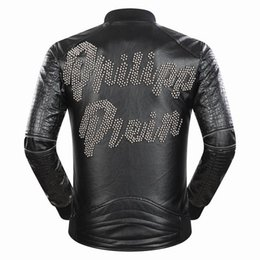 Wholesale Best Leather Jackets Sell - Autumn Winter Fashion Punk Style Men Motorcycle Leather Clothing Jacket Best-selling Letter Beading PU Leather Coat