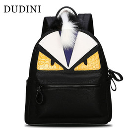 Wholesale Travel Backpacks Zipper For Women - Wholesale- DUDINI New Fashion Backpacks Travel Backpack Male Female School Bags For Teenagers Girl Monster PU Leather Shoulders Bag
