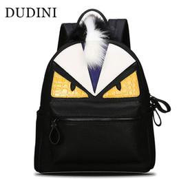 Wholesale Cartoon School - Wholesale- DUDINI New Fashion Backpacks Travel Backpack Male Female School Bags For Teenagers Girl Monster PU Leather Shoulders Bag