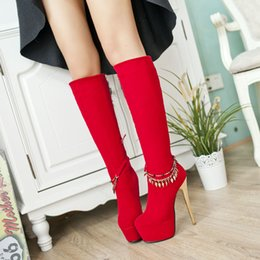 Wholesale Mid Heel Red Bridal Shoes - Boots New arrival red ultra high heels high-leg scrub wedding shoes bridal shoes high heel 16CM Platform 5.5CM EUR Size 34-39