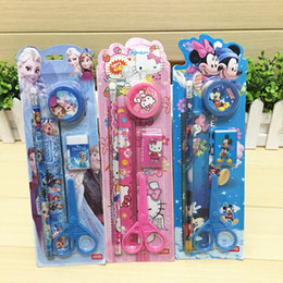 Wholesale Wholesale Princess Pencil Case - School Children Gift Birthday present Cartoon Frozen Princess Car Children small stationery set 5 In 1 scissors Economical practical