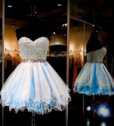 Wholesale Modern Baby Formal Gowns - Mini Short Baby Blue Homecoming Dresses Sweet 16 Sweetheart Lace Cocktail Dresses Short Formal Party Gowns With Crystal Beaded Waistband