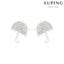 Wholesale Ear Umbrellas - Xuping Bling White Zirconia Stud Earrings Lovely Umbrella Rhodium Plated Copper Ear Knot For Date Fashion Earring for Wholesale DH-18-10K002