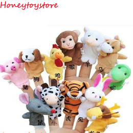 Wholesale Chinese Animal Zodiac - Chinese Zodiac 12pcs lot Animals Cartoon Biological Finger Puppet Plush Toys Dolls Child Baby Favor Finger Doll Free shipping