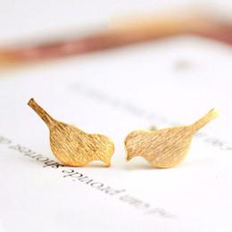 Gorriones regalos online-Lindo Pájaro Arete Pequeño Tigre Gorrión Pendientes 18 K Oro Plata Oro Rosa Plateado Joyería de Moda Para Las Mujeres Regalo Mezcla de Color