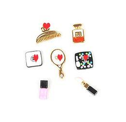 Wholesale C Perfume - Wholesale-Min.$15 (Mixed Order) Cell Phone Case DIY 7pcs set Charms C brand Alloy perfume Comb lipstick Set Decoration AC003