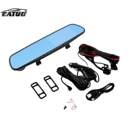 Wholesale Sensor Parking Lcd For Car - car dvd Univeral Dual Lens TFT LCD Parking Car Rear View Mirror Monitor 4.3'' Rearview Monitor for Backup Reverse Camera with G-sensor