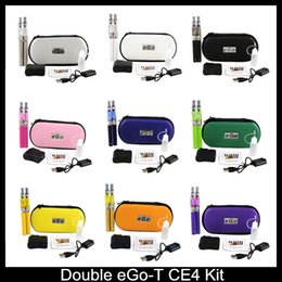 Wholesale Dual Cigarette Starter Kit Ego - Double eGo T CE4 starter kits E cigarette CE4 atomizer clearomizer 650mah 900mah 1100mah battery ego t battery E cigarette ego Dual kits