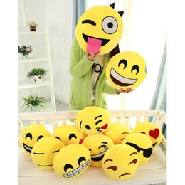 Almofada cute lindo emoji smiley travesseiros on-line-100 pcs Diâmetro 32 cm Almofada Bonito Emoji Smiley Almofadas Dos Desenhos Animados Facial Almofadas de Almofada de Expressão QQ Amarelo Rodada Recheado Travesseiro